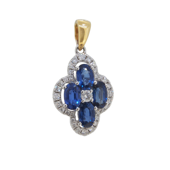 A modern, 18ct white gold, sapphire & diamond set pendant