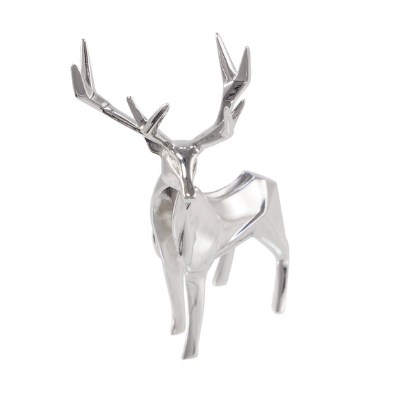 A modern, silver origami style model of a stag