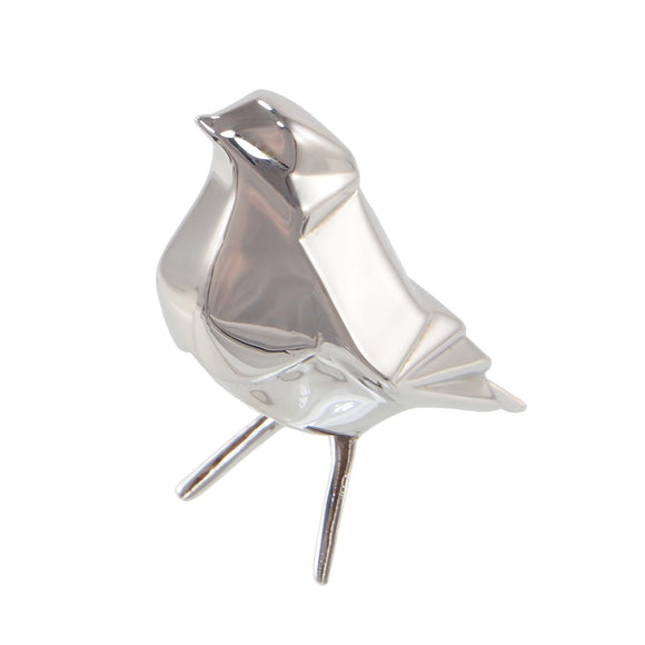 A modern, silver, origami style model of a robin