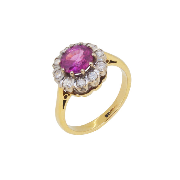 A modern, 18ct yellow gold, pink sapphire & diamond set, circular cluster ring