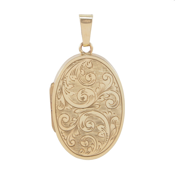 A modern, 9ct yellow gold, engraved, oval locket