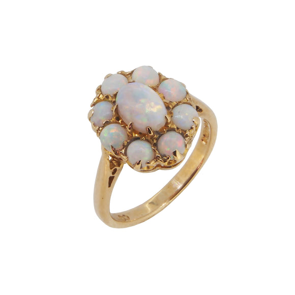 A modern, 9ct yellow gold, opal set cluster ring
