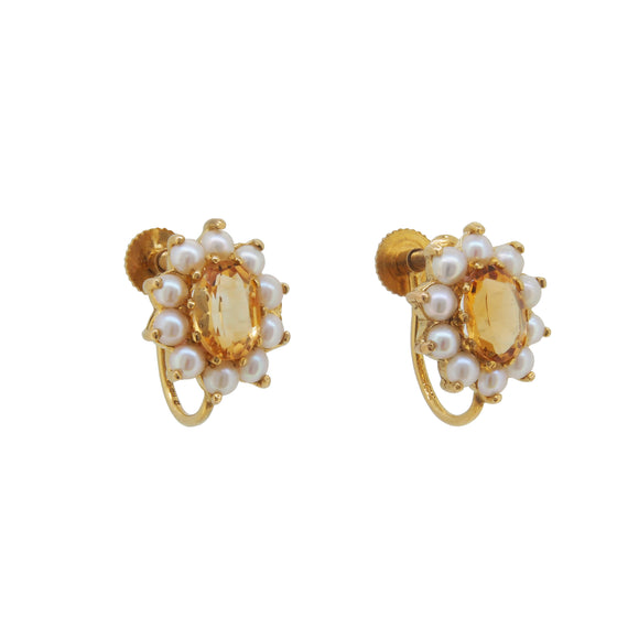 A pair of mid 20th century, 9ct yellow gold, citrine & pearl set, cluster screw on earrings