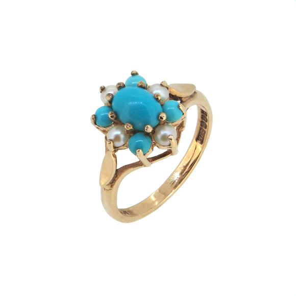 A mid 20th century, 9ct yellow gold, turquoise & pearl set cluster ring