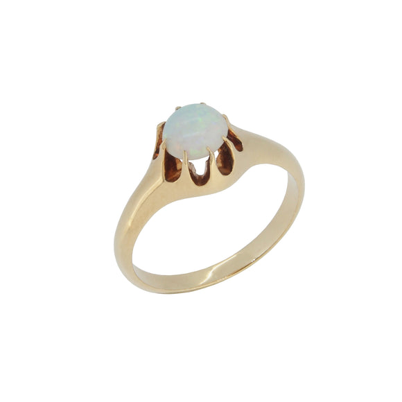 An early 20th century, 18ct yellow gold, opal set, single stone ring