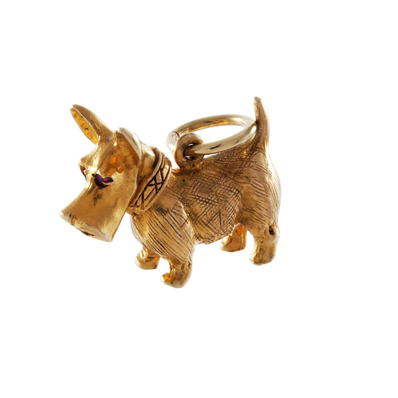 A mid 20th century, 9ct yellow gold, Scottie Dog charm pendant