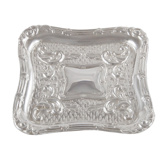 An Edwardian, silver, embossed pin tray