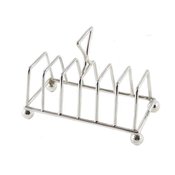 An Edwardian, silver, six slice toast rack