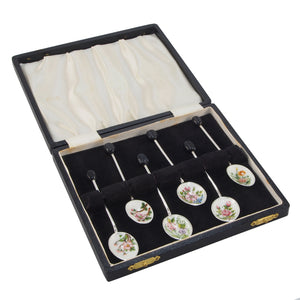 Six Coffee Bean Spoons & Fitted Case