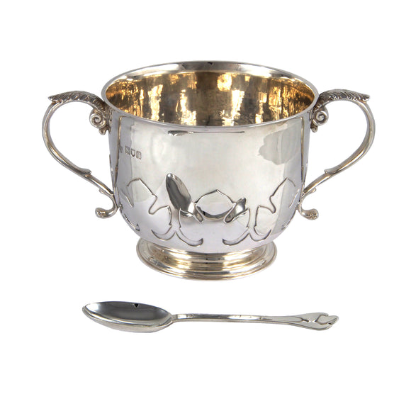 An Edwardian, silver, two handled, cut card style porringer & spoon