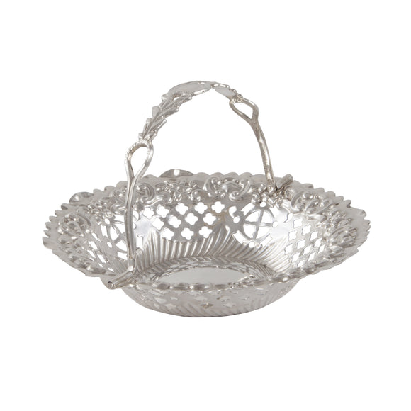 A Victorian, silver sweet basket with a handle