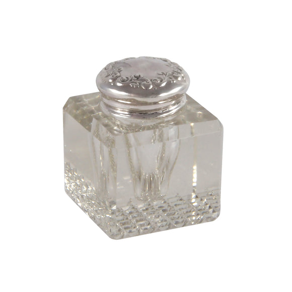 An Edwardian, glass, square inkwell with a silver top