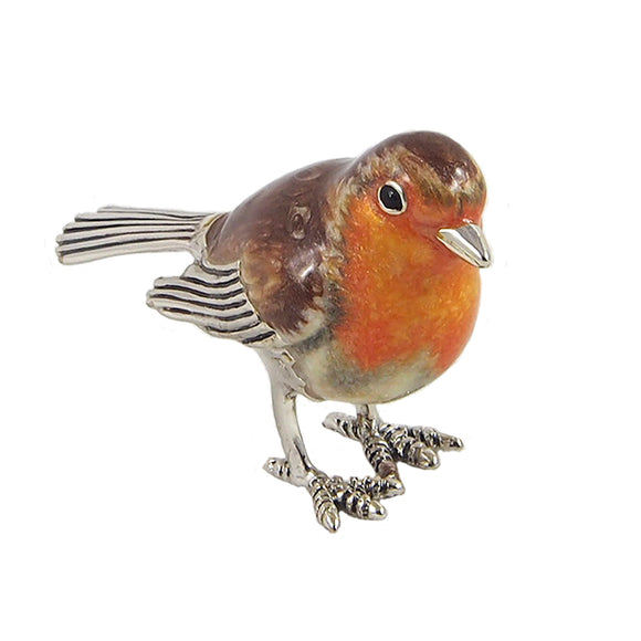 A modern, silver and enamel model of a robin