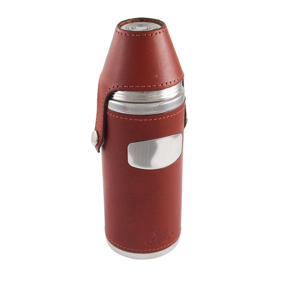 A modern, stainless steel & brown chestnut leather Hunter flask with four 10oz cups