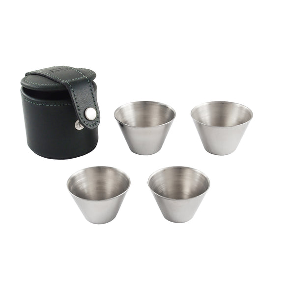Four, modern, stainless steel cups & green leather case