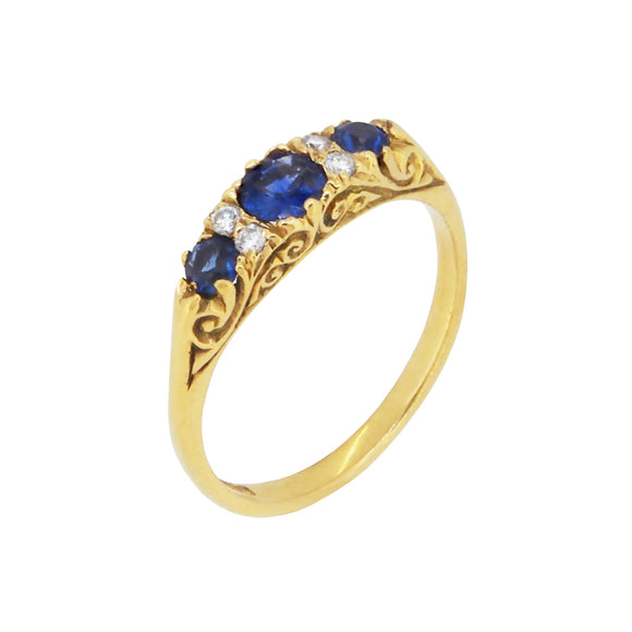 A modern, 18ct yellow gold, sapphire & diamond set half hoop ring