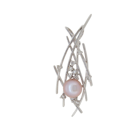 A modern, 18ct white gold, freshwater pearl & diamond set pendant brooch