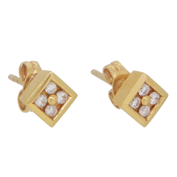 A pair of modern, 18ct yellow gold, diamond set, square stud earrings