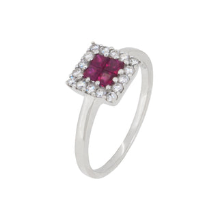A modern, 18ct white gold, ruby & diamond set, square cluster ring