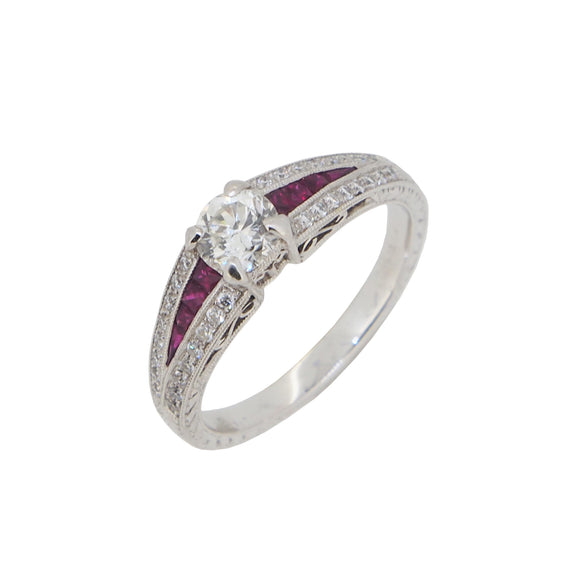 A modern, 18ct white gold, ruby & diamond set cluster ring
