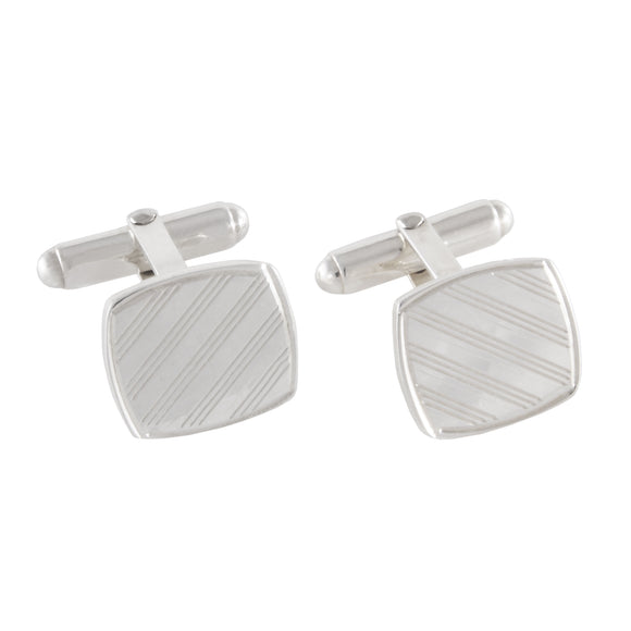 A pair of modern, silver, square, engine turned cufflinks