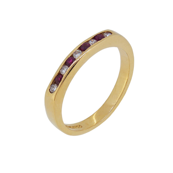 A modern, 18ct yellow gold, ruby & diamond set half eternity ring