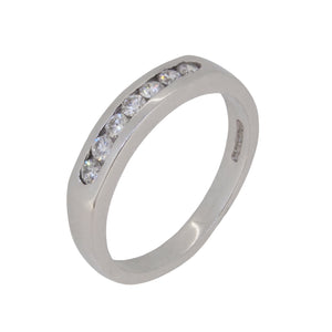 A modern, 18ct white gold, diamond set half eternity ring