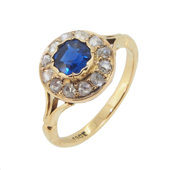 A modern, 18ct yellow gold, sapphire & rose cut diamond set cluster ring