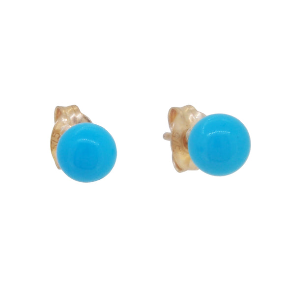 A pair of modern, 9ct yellow gold, turquoise set, ball stud earrings