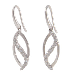A pair of modern, 18ct white gold, diamond set drop earrings