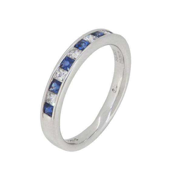 A modern, 18ct white gold, sapphire & diamond set, half eternity ring