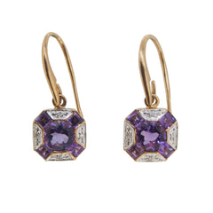 A pair of modern, 9ct yellow gold, amethyst & diamond set cluster drop earrings