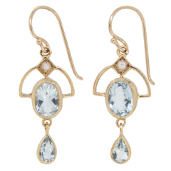 A pair of modern, 9ct yellow gold, aquamarine & pearl set drop earrings