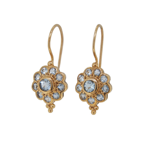A pair of modern, 9ct yellow gold, aquamarine set cluster drop earrings