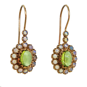 A pair of modern, 9ct yellow gold, peridot & opal set drop earrings
