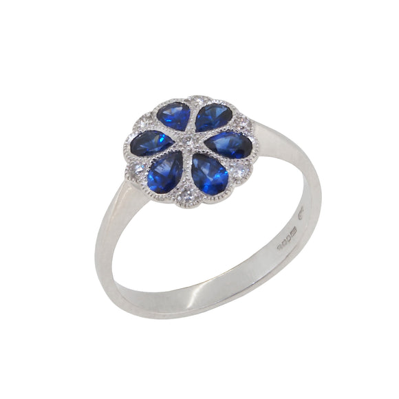 A modern, 18ct white gold, sapphire & diamond set cluster ring