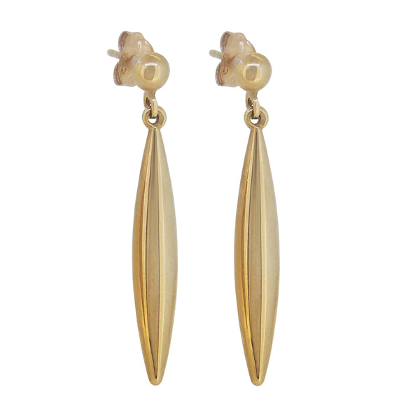 A pair of modern, 9ct yellow gold, torpedo drop earrings