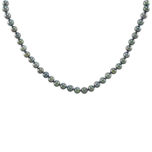 A modern, single row of black cultured pearls on a silver magnetic snap