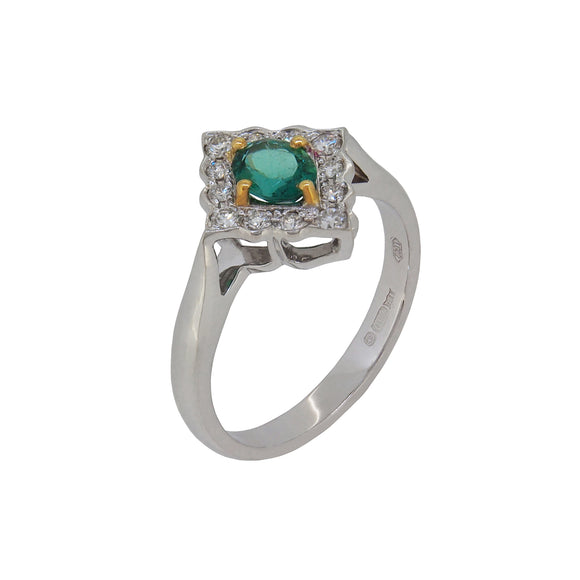 A modern, 18ct white gold, emerald & diamond set cluster ring