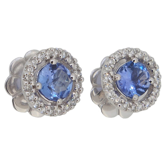 A pair of modern, 18ct white gold, tanzanite & diamond set cluster stud earrings