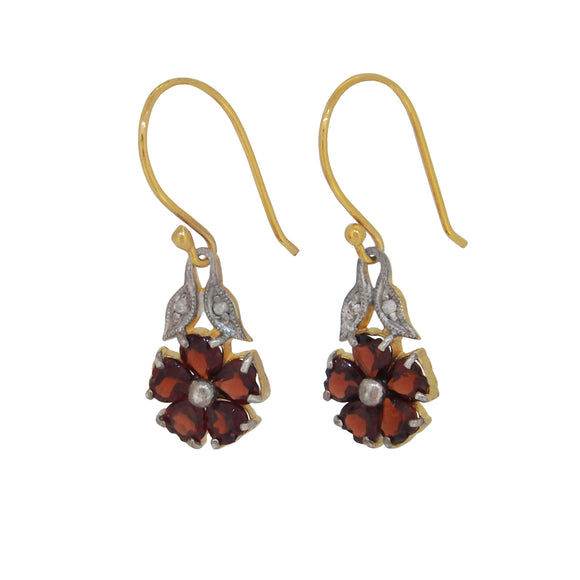 A pair of modern, silver & silver gilt, garnet set drop earrings