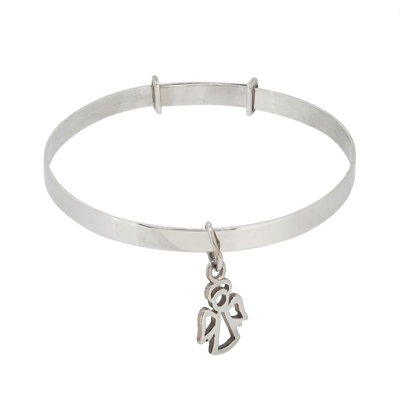 A modern, silver, expanding, child's bangle with a  Guardian Angel charm
