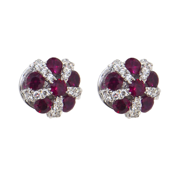A pair of modern, 18ct white gold, ruby & diamond set, domed, cluster stud earrings