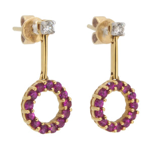 A pair of modern, 18ct yellow gold, ruby & diamond set circular drop earrings