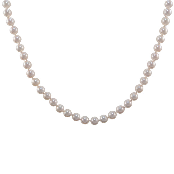 A modern, single row Akoya pearl necklace with a silver gilt snap