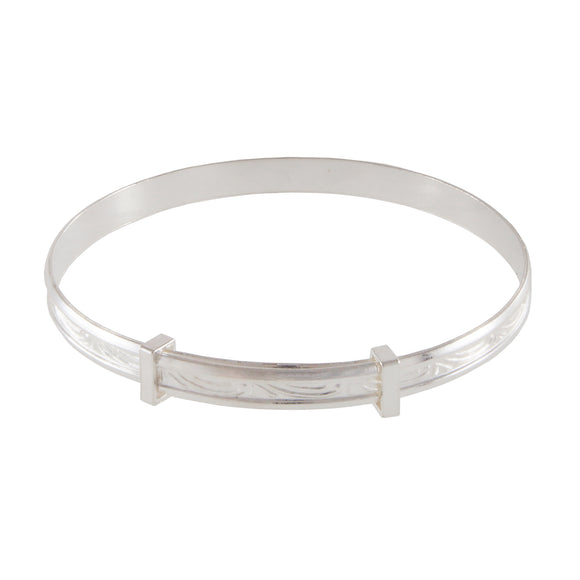 A modern, silver, patterned, expanding, child's bangle