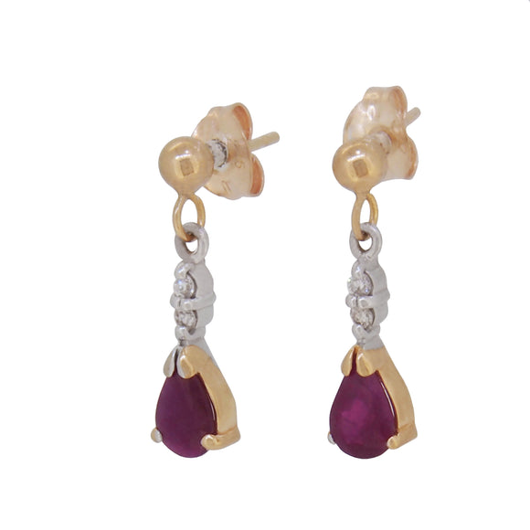 A pair of modern, 9ct yellow gold, ruby & diamond set drop earrings