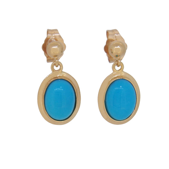 A pair of modern, 9ct yellow gold, turquoise set, oval drop earrings