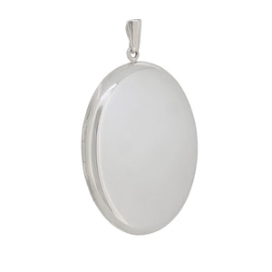 A modern, silver, plain, oval locket