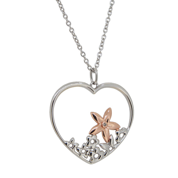 A modern, silver & partial gilt, diamond set, open work, heart shaped, floral pendant & chain
